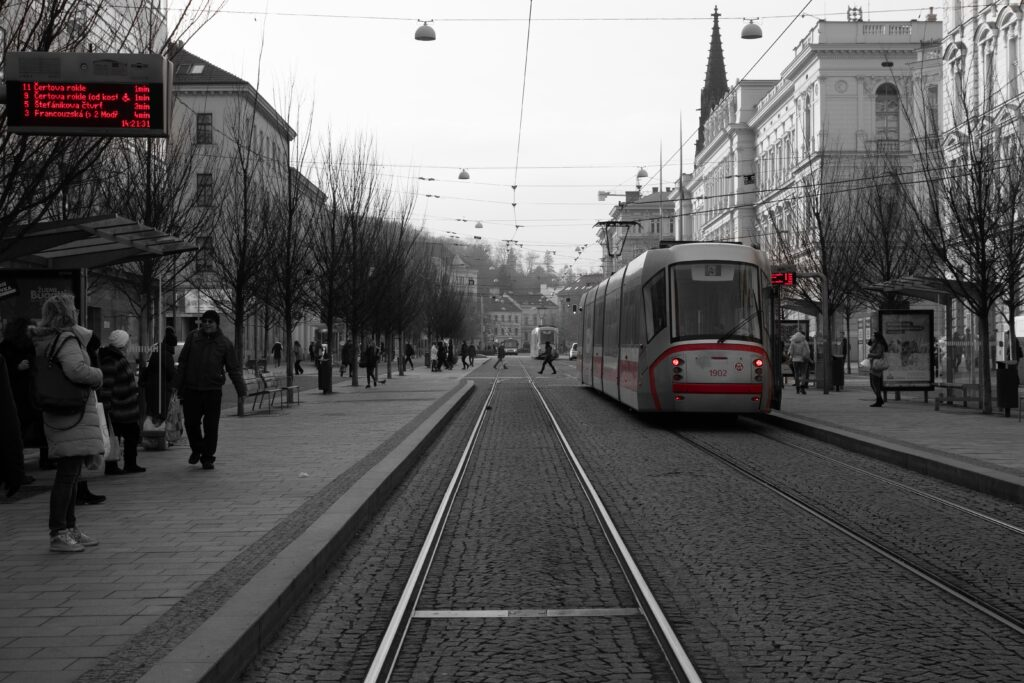 The Red Trams in Brno, Czech Republic, selective colour photography