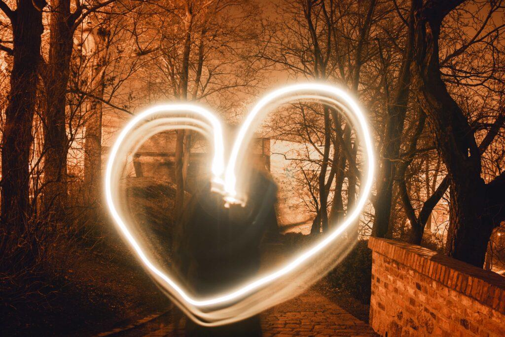 heart light trail at night