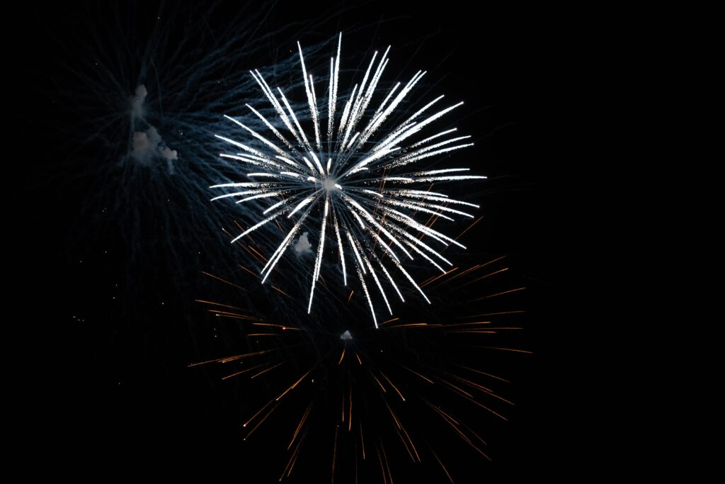 White fireworks display - photographing fireworks