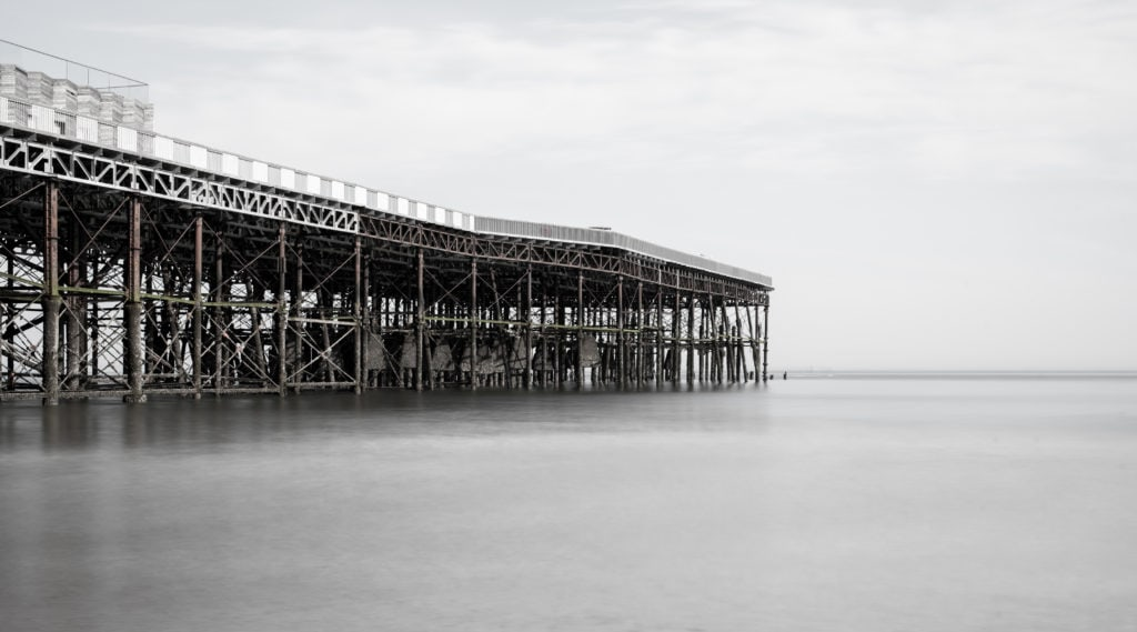 black and white long exposure 50mm beach photography